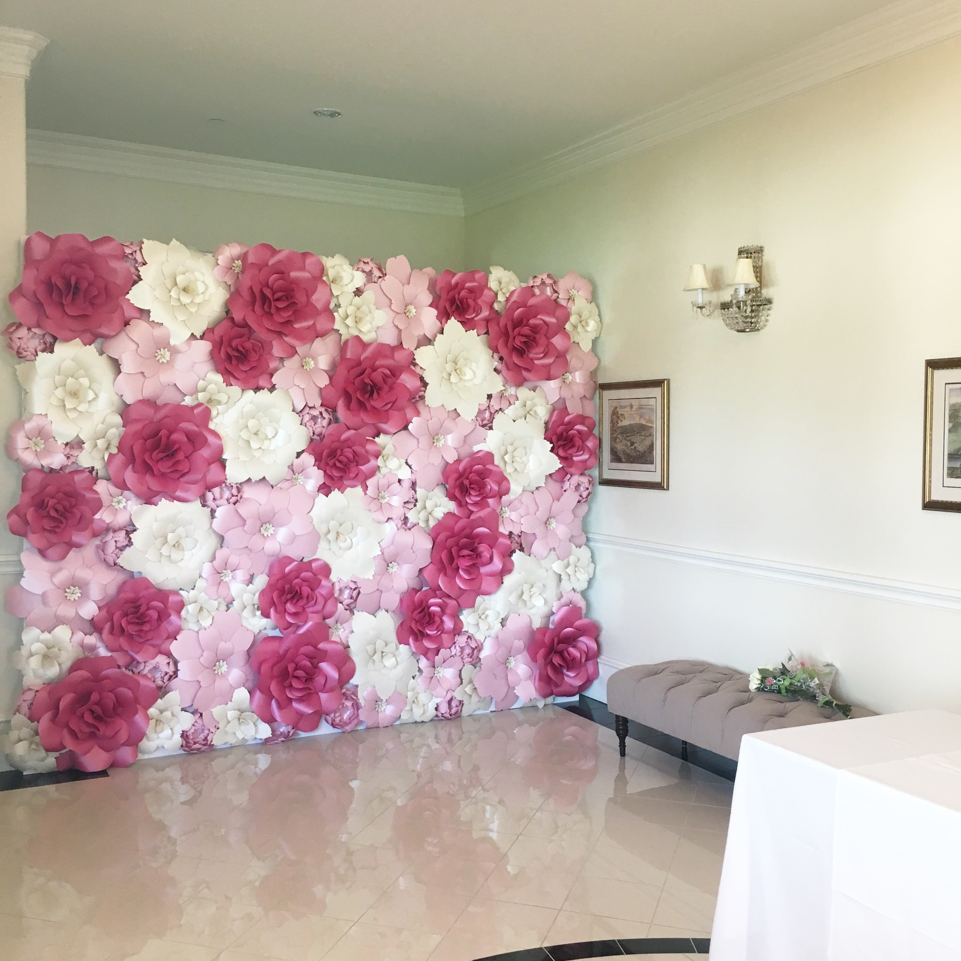 Paper flower wall. flower wall. Paper flower wall rental. Event rental. Backdrop rental. paper flower wall rental. houston paper flowers. wedding ceremony backdrop. sweetheart table backdrop. photobooth backdrop. photo backdrop. personalized. quinceanera. bridal shower. baptism.