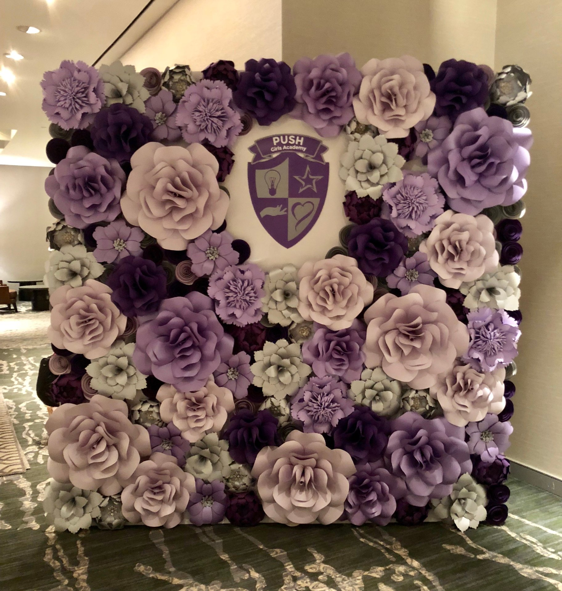 Corporate event decor, women's event, corporate party, decor, paper flowers